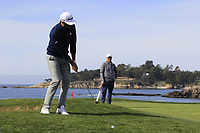 Dustin Johnson (USA) chips onto the 7th green during Sunday's Final Round of the 2018 AT&amp;T Pebble Beach Pro-Am, held on Pebble Beach Golf Course, Monterey,  California, USA. 11th February 2018.<br /> Picture: Eoin Clarke | Golffile<br /> <br /> <br /> All photos usage must carry mandatory copyright credit (&copy; Golffile | Eoin Clarke)