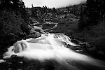 Monochrome landscape of the lower end of Horsetail Falls along Pyramid Creek in South Lake Tahoe, California.