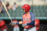 Kameron Esthay (18) of the Hagerstown Suns at bat against the Kannapolis Intimidators at Kannapolis Intimidators Stadium on May 6, 2018 in Kannapolis, North Carolina. The Intimidators defeated the Suns 4-3. (Brian Westerholt/Four Seam Images)
