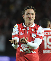 BOGOTA - COLOMBIA -22 -007-2014: Manuel Seijas, jugador de Independiente Santa Fe de Colombia celebran el gol anotado a RC Deportivo de La Coruña de España, durante partido amistoso entre Independiente Santa Fe de Colombia y RC Deportivo de La Coruña de España en el estadio Nemesio Camacho El Campin de la ciudad de Bogota.  / Manuel Seijas,  player of Independiente Santa Fe of Colombia celebrate a scored goal to RC Deportivo de La Coruña of Spain during a friendly match between Independiente Santa Fe of Colombia and RC Deportivo de La Coruña of Spain at the Nemesio Camacho El Campin Stadium in Bogota city, Photos: VizzorImage  / Luis Ramirez / Staff.