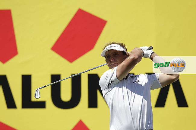 Joost Luiten (NED) tees off the par3 8th tee during Thursday's Round 1 of the 2014 Open de Espana held at the PGA Catalunya Resort, Girona, Spain. Wednesday 15th May 2014.<br /> Picture: Eoin Clarke www.golffile.ie