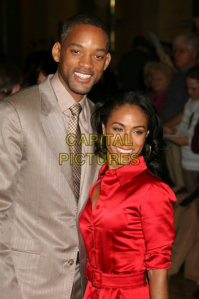 WILL SMITH & JADA PINKETT SMITH.79th Annual Academy Awards Nominees Luncheon at the Beverly Hilton Hotel, Beverly Hills, California, USA..February 5th, 2007.half length red satin shirt dress beige grey gray suit jacket couple husband wife married .CAP/ADM/BP.©Byron Purvis/AdMedia/Capital Pictures