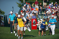 Adam Scott and Lee Westwood in action during the opening round of the US PGA Championship at Valhalla (Photo: Anthony Powter) Picture: Anthony Powter / www.golffile.ie