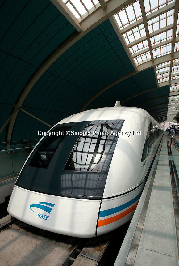 A Shanghai Transrapid Maglev train calls into station in Shanghai, China. China and Germany have reached consensus on technology transfer and other key issues regarding the construction of a 4 billion euro, 200 km maglev line linking Shanghai and Hangzhou in east China, while the two countries have signed a number of significant trade deals during German Chancellor Angela Merkel's ongoing China state visit. Germany is China's largest European trade partner as two-way trade between the two countries reached 50 billion euro last year..23 May 2006