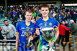 Man of the match Shane Conway and Lixnaw captain Darragh Shanahan after winning the Kerry County Senior Hurling championship Final at Austin Stack Park on Sunday.