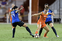 Houston, TX - Sunday August 13, 2017:  Sydney Leroux, Cari Roccaro and Christina Gibbons during a regular season National Women's Soccer League (NWSL) match between the Houston Dash and FC Kansas City at BBVA Compass Stadium.