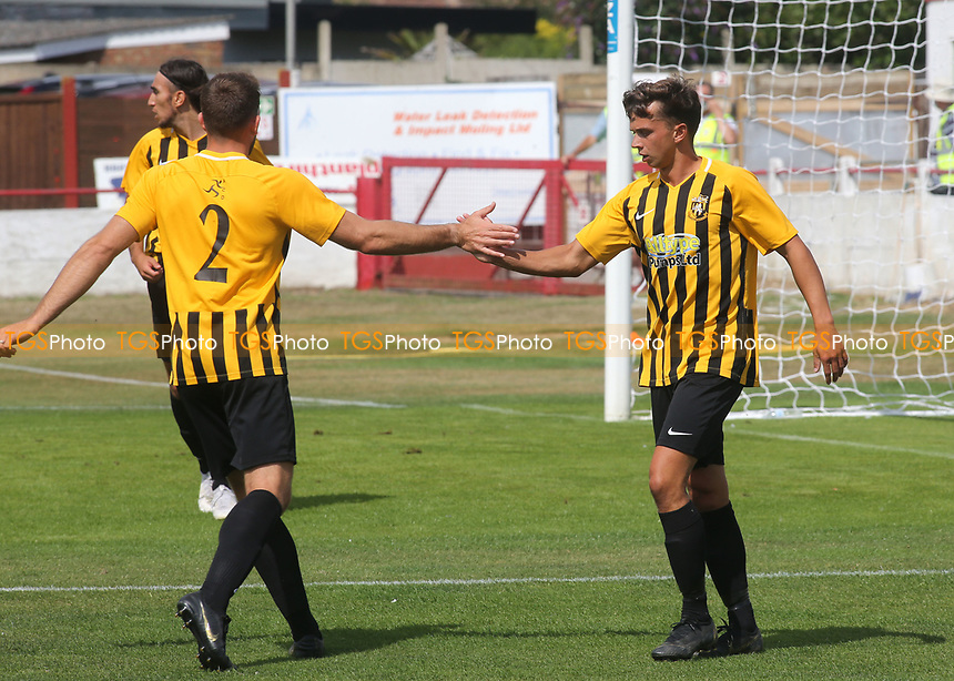 Johan Ter Horst scores Folkestone's opening goal and celebrates with a social distancing touch during Ramsgate vs Folkestone Invicta, Friendly Match Football at Southwood Stadium on 1st August 2020