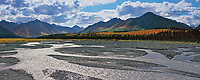 Panorama of the Teklanika river and the Cathedral mountains in autumn, Denali National park, Alaska
