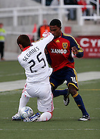 Gonzalo Segares (25) of the Chicago Fire and Robbie Findley (10) of Real Salt Lake. The Chicago Fire and Real Salt Lake played to a 1-1 tie during a Major League Soccer match at Rice-Eccles Stadium in Salt Lake City, Utah on March 29, 2008.