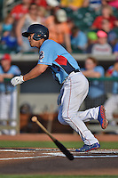 Tennessee Smokies center fielder Jae-Hoon Ha #3 swings at a pitch during a game against the Birmingham Barons at Smokies Park on May 31, 2014 in Kodak, Tennessee. The Barons defeated the Smokies 2-1. (Tony Farlow/Four Seam Images)