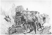 RGS class 60 locomotive #15 on the ground south of Ridgway while on a caboose hop with #0400.<br /> RGS  s. of Ridgway, CO  3/1920