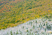 Franconia Notch State Park from Hi-Cannon Trail during the autumn months. This trail leads to the summit of Cannon Mountain in the White Mountains, New Hampshire.
