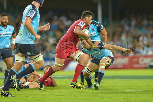27.02.2016.  Sydney, Australia. Super Rugby. NSW Waratahs versus Queensland Reds. Reds flanker Hendrik Tui in action. The Waratahs won 30-10.
