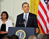 """United States President Barack Obama makes remarks as he and first lady Michelle Obama honor recipients of the 2010 Medal of Freedom, """"the Nation's highest civilian honor presented to individuals who have made especially meritorious contributions to the security or national interests of the United States, to world peace, or to cultural or other significant public or private endeavors"""", in a ceremony in the East Room of the White House in Washington, D.C. on Tuesday, February 15, 2011..Credit: Ron Sachs / CNP"""