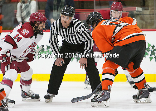 Alexander Kerfoot (Harvard - 14), Adam Wood, Garrett Skrbich (Princeton - 17) - The Harvard University Crimson defeated the visiting Princeton University Tigers 5-0 on Harvard's senior night on Saturday, February 28, 2015, at Bright-Landry Hockey Center in Boston, Massachusetts.