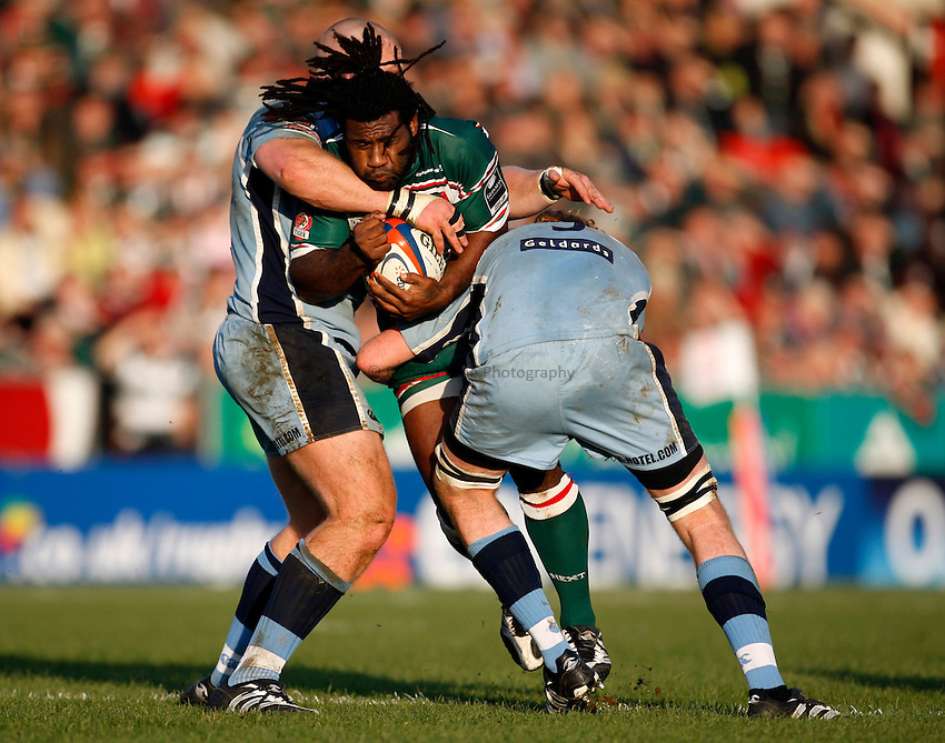 Photo: Richard Lane/Richard Lane Photography..Leicester Tigers v Cardiff Blues. EDF Energy Cup. 03/11/2007. .Tigers' Seru Rabeni is stopped by the Blues' defence.