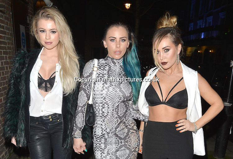 NON EXCLUSIVE PICTURE: MATRIXPICTURES.CO.UK<br /> PLEASE CREDIT ALL USES<br /> <br /> WORLD RIGHTS <br /> <br /> Lauryn Goodman and Ex On The Beach stars Megan Rees and Amy Cooke are spotted during a night out at Raffles Chelsea, in London. <br />  <br /> MARCH 8th 2016<br /> <br /> REF: LTN 16647