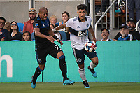 SAN JOSE, CA - AUGUST 24: Judson #93 of the San Jose Earthquakes and Fredy Montero  #12 of the Vancouver Whitecaps during a game between Vancouver Whitecaps FC and San Jose Earthquakes at Avaya Stadium on August 24, 2019 in San Jose, California.