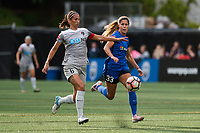 Seattle, WA - Sunday, August 13, 2017: Abby Erceg and Katlyn Johnson during a regular season National Women's Soccer League (NWSL) match between the Seattle Reign FC and the North Carolina Courage at Memorial Stadium.