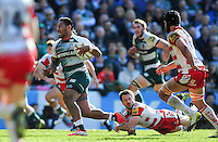 Manu Tuilagi of Leicester Tigers gets past Greig Laidlaw of Gloucester Rugby. Aviva Premiership match, between Leicester Tigers and Gloucester Rugby on April 2, 2016 at Welford Road in Leicester, England. Photo by: Patrick Khachfe / JMP