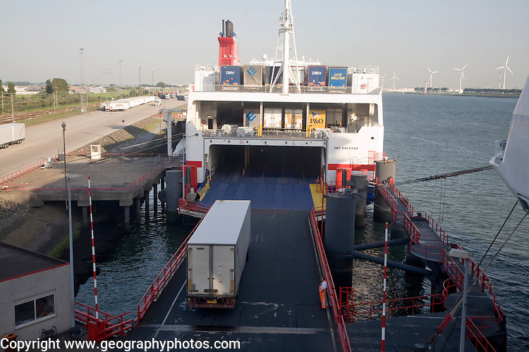 Loading lorries onto Ro-Ro cargo ship, Hook of Holland ferry terminal, Port of Rotterdam, Netherlands