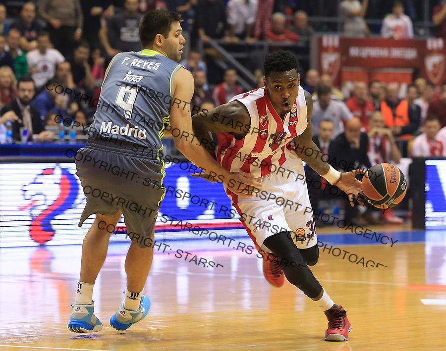 Kosarka Euroleague season 2015-2016<br /> Euroleague <br /> Crvena Zvezda v Real Madrid<br /> Quincy Miller and Felipe Reyes (L)<br /> Beograd, 27.11.2015.<br /> foto: Srdjan Stevanovic/Starsportphoto &copy;