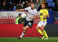 Bolton Wanderers' Yanic Wildschut competing with Blackburn Rovers' Elliott Bennett<br /> <br /> Photographer Andrew Kearns/CameraSport<br /> <br /> The EFL Sky Bet Championship - Bolton Wanderers v Blackburn Rovers - Saturday 6th October 2018 - University of Bolton Stadium - Bolton<br /> <br /> World Copyright &copy; 2018 CameraSport. All rights reserved. 43 Linden Ave. Countesthorpe. Leicester. England. LE8 5PG - Tel: +44 (0) 116 277 4147 - admin@camerasport.com - www.camerasport.com