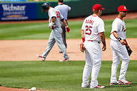 Matthew Adams (25) of the Springfield Cardinals celebrates with the team after getting the last out during a game against the Arkansas Travelers on May 10, 2011 at Hammons Field in Springfield, Missouri.  Photo By David Welker/Four Seam Images.