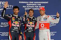 ATENCAO EDITOR IMAGEM EMBARGADA PARA VEICULO INTERNACIONAL - SAO PAULO, SP, 06 OUTUBRO DE 2012 - FORMULA 1 GP JAPAO -  O piloto alemao Sebastina Vettel (C) da equipe Red Bull conquista a pole position durante treino classificatorio nesta sabado, 06, para o Grande Premio do Japao que acontece amanha em Suzuka no Japao. FOTO: PIXATHLON / BRAZIL PHOTO PRESS)