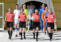 20180307 - LARNACA , CYPRUS :  referees with Ukrainian assistant referee Oleksandra Vdovina , Dutch assistant referee Fijke Hoogendijk ,  Ukrainian referee Anastasia Romanyuk and Finnish assitant referee Heini Hyvonen pictured during a women's soccer game between  Slovakia and the Czech Republic , on Wednesday 7 March 2018 at the GSZ Stadium in Larnaca , Cyprus . This is the final game in a decision for 9 th or 10 th place of the Cyprus Womens Cup , a prestigious women soccer tournament as a preparation on the World Cup 2019 qualification duels. PHOTO SPORTPIX.BE | DAVID CATRY