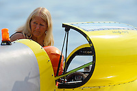 "Jenny Grigg (Sr.) gets son John Grigg, GP-52 ""Wanna Bee"", ready to race. (Grand Prix Hydroplane(s)"