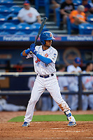 St. Lucie Mets second baseman Luis Carpio (11) at bat during the first game of a doubleheader against the Charlotte Stone Crabs on April 24, 2018 at First Data Field in Port St. Lucie, Florida.  St. Lucie defeated Charlotte 5-3.  (Mike Janes/Four Seam Images)