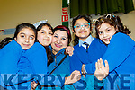 L-R Haniya Mamon, Isha, Waquia and Aliza Irfan with Zymal Raza enjoying the Grand parents day at Presentation primary school, Tralee last Tuesday, Feb 11.