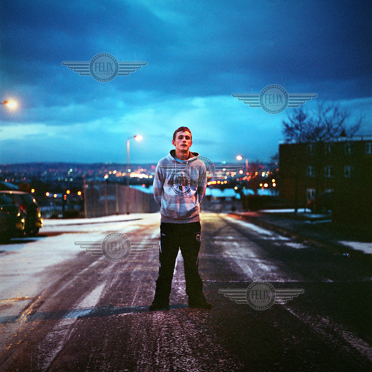 Kenneth standing on an icy road in the North Belfast area of Ballysillan.