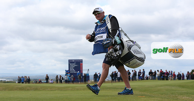 Caddie Roachy heading down the 4th  during Round Three of the 2015 Aberdeen Asset Management Scottish Open, played at Gullane Golf Club, Gullane, East Lothian, Scotland. /11/07/2015/. Picture: Golffile | David Lloyd<br /> <br /> All photos usage must carry mandatory copyright credit (&copy; Golffile | David Lloyd)