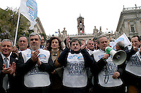 """Rome   April 4  2008.Demonstration for the security Of the People Of the Liberties' in Capitol.The mayor of Rome Gianni Alemanno with Mauro Cutrufo and Alfredo Antoniozzi .The bib is written """"I want a sure city"""""""