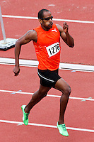 Lincoln University standout Roxroy Cato runs unnattached to victory in the men's 400 in 47.13 at the 2012 Missouri Relays. Cato just missed the meet record by Northern Iowa All-American Dirk Homewood in 2002. Cato, who redshirted this season for Lincoln placed 3rd in the 400 meter hurdles at the Jamaican Olympic Trials Friday, June 29 in Kingston Jamaica in 49.65 to earn a spot on the London Olympic team.