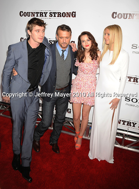 """LOS ANGELES, CA. - December 14: Garrett Hedlund, Tim McGraw,Leighton Meester and Gwyneth Paltrow attend the """"Country Strong"""" Los Angeles Special Screening at the Academy of Motion Picture Arts and Sciences on December 14, 2010 in Beverly Hills, California."""