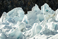 Icy landscape with ice seracs on Franz Josef Glacier, Westland Tai Poutini National Park, West Coast, UNESCO World Heritage Area, New Zealand, NZ