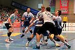 09.11.2019, Hansehalle Luebeck, GER,  2.Bundesliga Handball VfL Luebeck-Schwartau - TV Emsdetten<br /> <br /> im Bild / picture shows<br /> Markus Hansen VfL Luebeck-Schwartau schreit im Zweikampf gegen Johannes Wasielewski (TV Emsdetten) und Jan Mojzis (TV Emsdetten) auf, vorne greift Steffen Köhler/Koehler VfL Luebeck-Schwartau nache dem Ball<br /> <br /> Foto © nordphoto / Tauchnitz