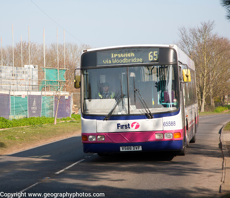 Country bus operated by First Bus Group transport company, Snape, Suffolk, England