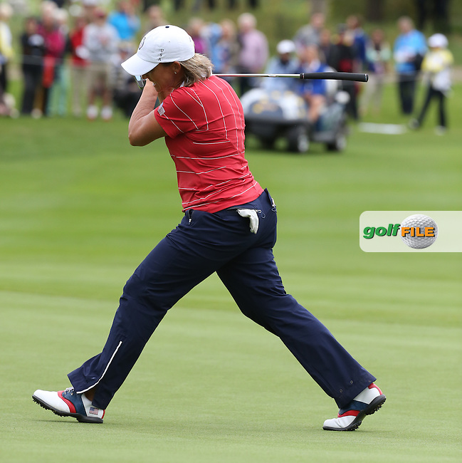 Going close to win the hole is Angela Stanford (USA) during Friday afternoon's Four-balls, at The Solheim Cup 2015 played at Golf Club St. Leon-Rot, Mannheim, Germany.  18/09/2015. Picture: Golffile | David Lloyd<br /> <br /> All photos usage must carry mandatory copyright credit (&copy; Golffile | David Lloyd)