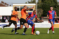 Curtis Weston of Chesterfield and Elliott Romain of Dagenham and Redbridge during Dagenham & Redbridge vs Chesterfield, Vanarama National League Football at the Chigwell Construction Stadium on 15th September 2018