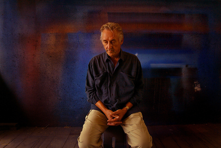 Artist Ed Ruscha takes a moment to himself at his studio, Thursday afternoon in Venice. He has a big retrospective show of his drawings opening at MOCA Oct. 17.