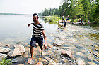 June 8, 2015; UNDERC-West student, José Carlos Wharton Soto, 21, from Inter American University of Puerto Rico walks across the headwaters of the Mississippi River at Itasca State Park in Park Rapids, Minnesota. (Photo by Barbara Johnston/University of Notre Dame)
