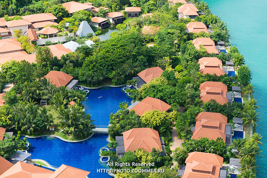 Aerial View Of Luxury Villas On Sentosa Island, Singapore