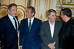 "Michel Drucker, Jacky Ickx, Salvatore Adamo, François Pirette attends at the ceremony who Michel Drucker was awarded at  the title of Commander of the Order of the Crowne at the Palace Egmont"" at Brussels, 2014 in Brussels, Belgium."