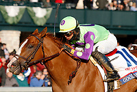 LEXINGTON, KY - April 07, 2018.  #11 Good Magic and jockey Jose Ortiz win the 94th running of The Toyota Blue Grass Grade 2 $1,000,000 for owner E Five Racing Thoroughbreds and trainer Chad Brown  at Keeneland Race Course.  Lexington, Kentucky. (Photo by Candice Chavez/Eclipse Sportswire/Getty Images)
