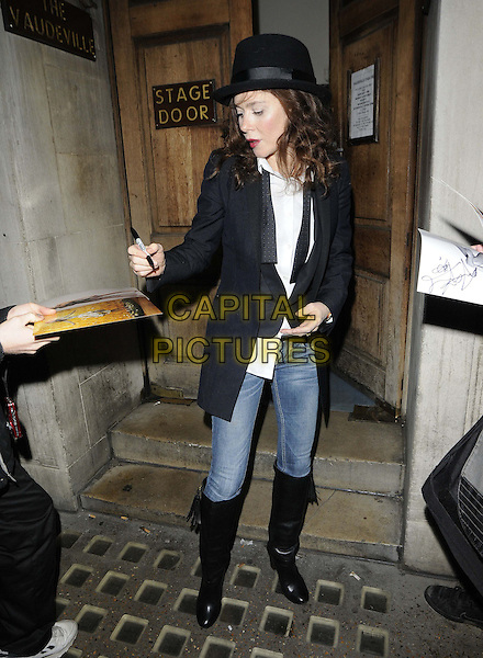 Anna Friel.departed after the evening performance in 'Uncle Vanya' at the Vaudeville Theatre, The Strand, London, England, UK, 27th October 2012..full length black hat blazer jacket jeans boots tuxedo bow tie white shirt signing autographs .CAP/CAN.©Can Nguyen/Capital Pictures.