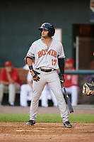 Bowie Baysox right fielder Jay Gonzalez (17) at bat during a game against the Harrisburg Senators on May 16, 2017 at FNB Field in Harrisburg, Pennsylvania.  Bowie defeated Harrisburg 6-4.  (Mike Janes/Four Seam Images)